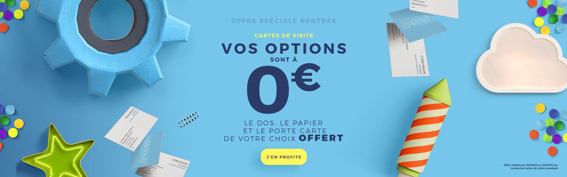 Toutes les options à zéro euros sur vos cartes de visite