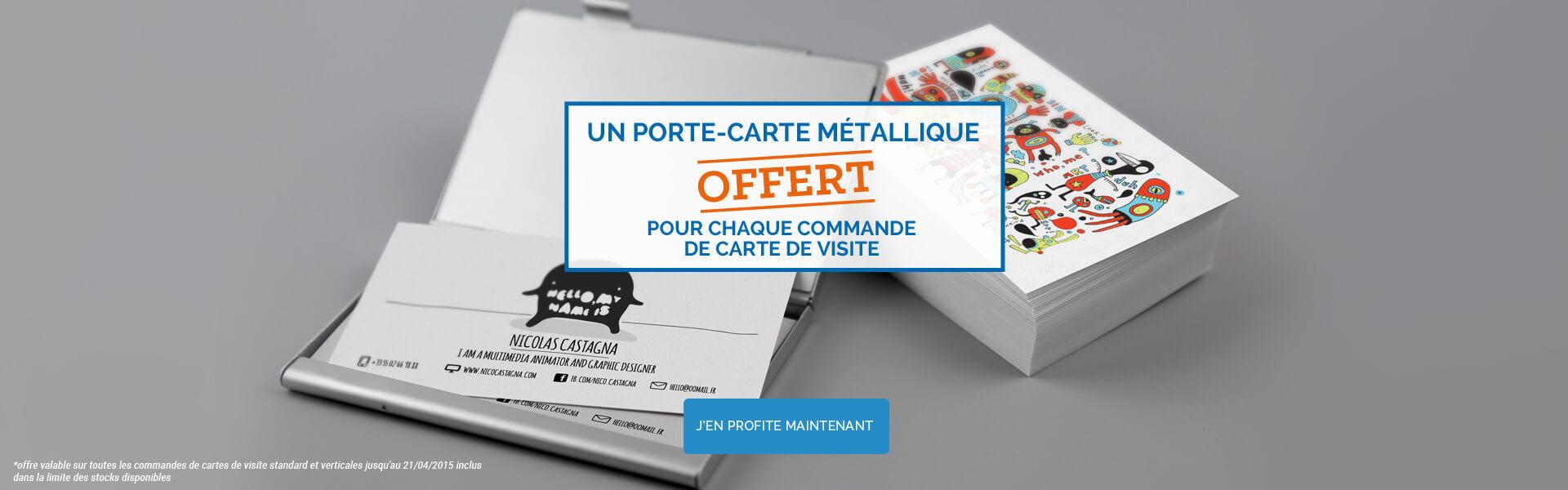 Offre porte métallique pour chaque commande carte de visite