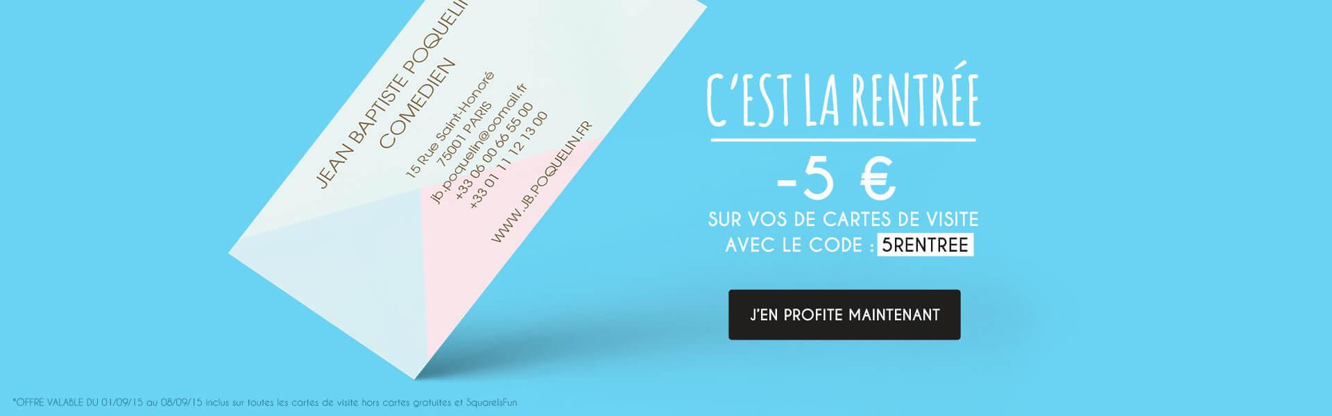 5 euros de réduction pour les cartes de visite