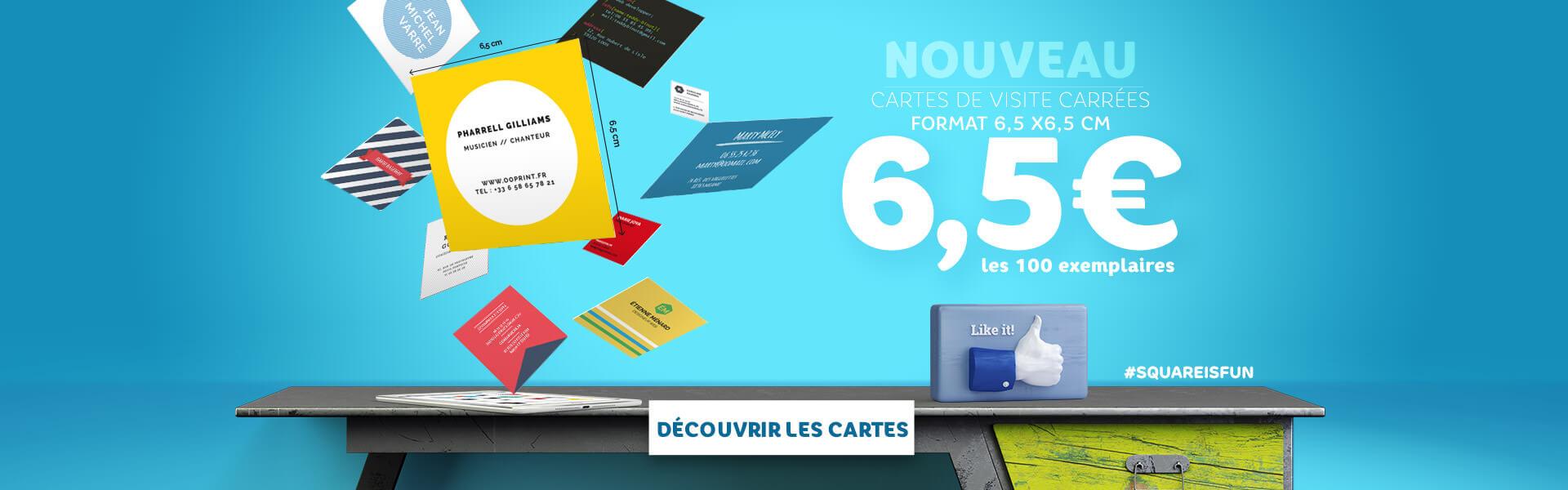 Nouveau : découvrez les cartes carrées SquareIsFun à 6,5 euros les 100 ex